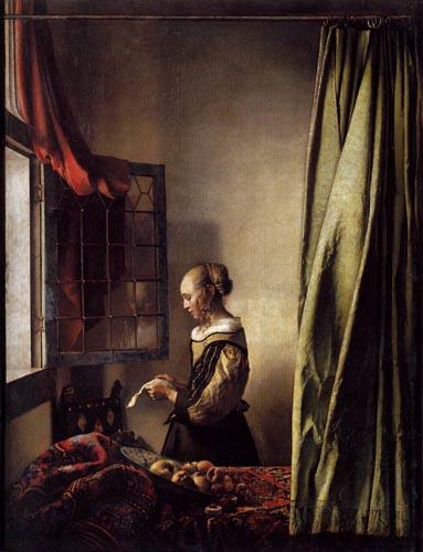 Vermeer ragazza che legge una lettera alla finestra for Ragazza alla finestra quadro